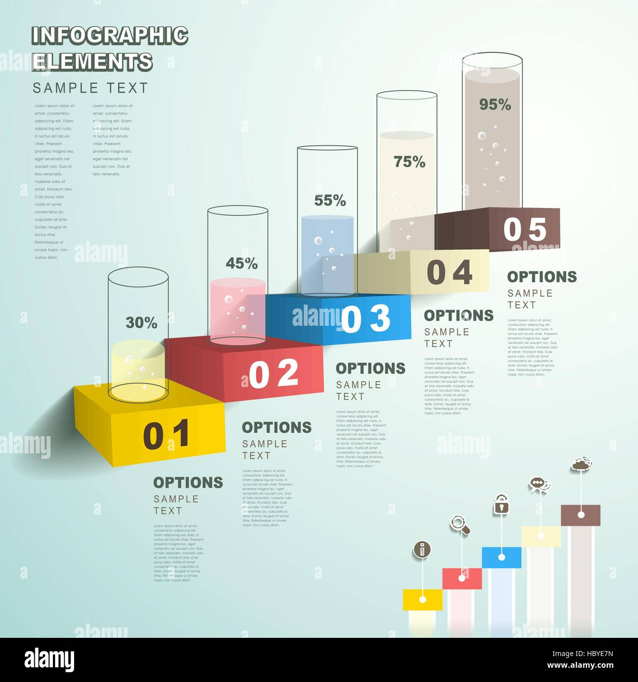 vector abstract flat design bar chart infographic elements stock
