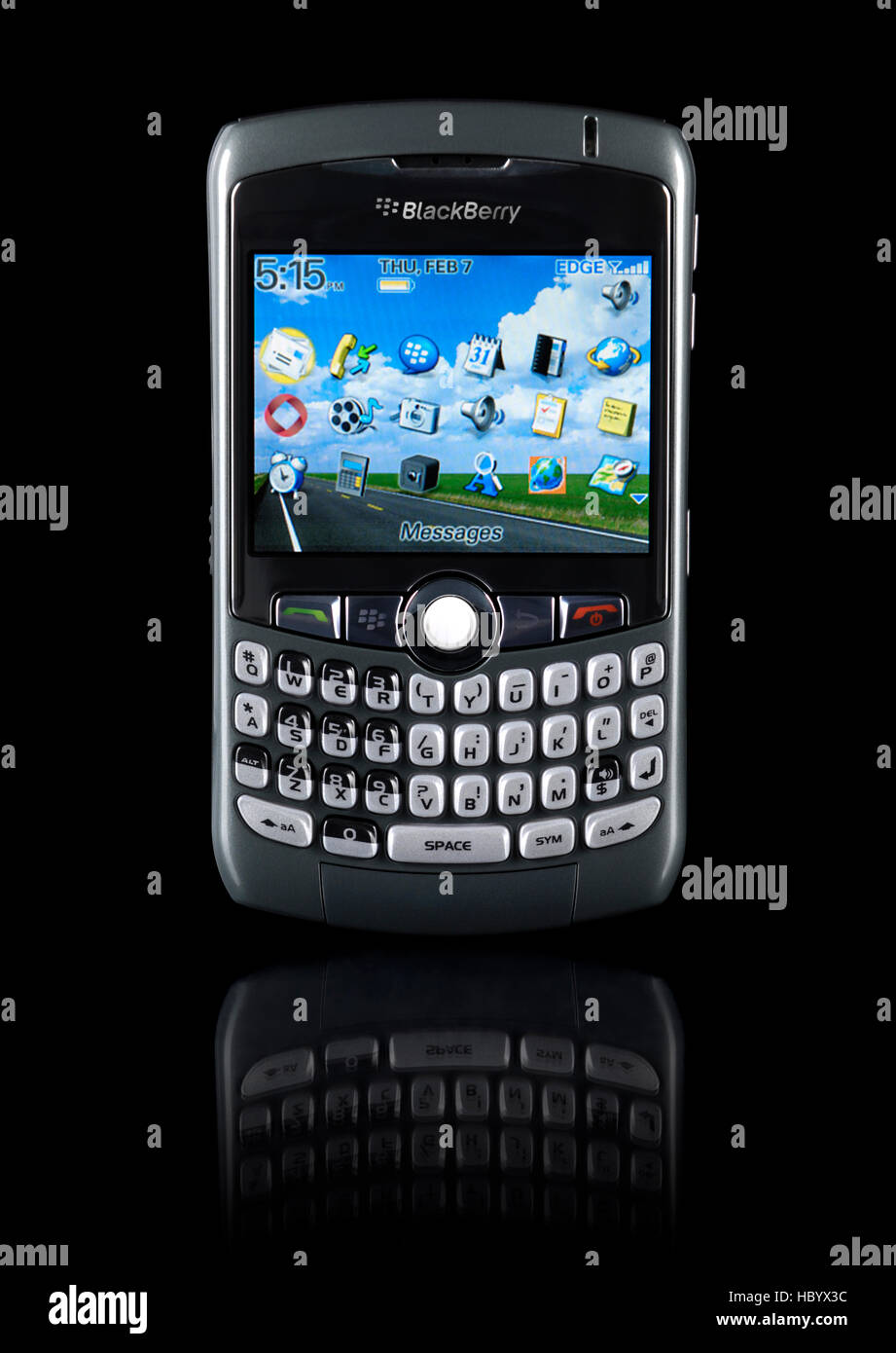 BlackBerry 8310 Curve, stylish smartphone with illuminated display - Stock  Image
