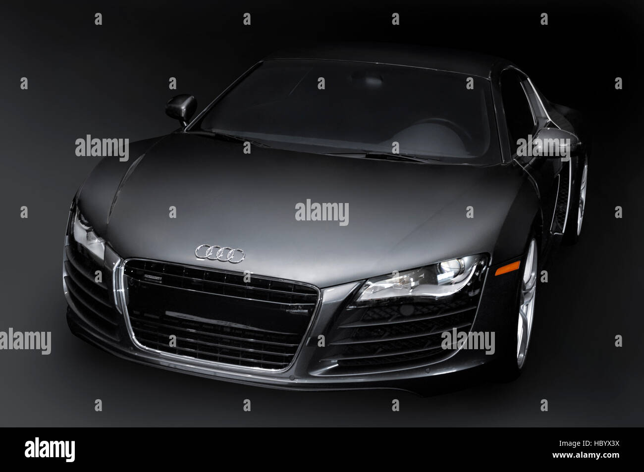 Pearl black Audi R8, a mid-engined German sports car - Stock Image