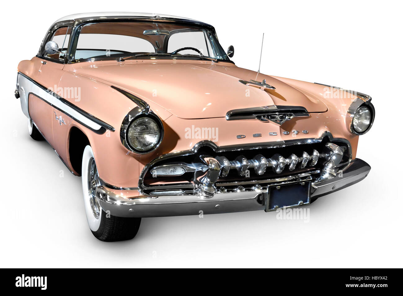 Pink white DeSoto Fireflite Sportsman 1955 classic retro car Stock Photo