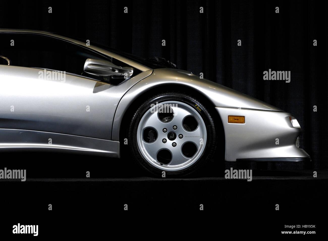 Silver Lamborghini Diablo Supercar   Stock Image