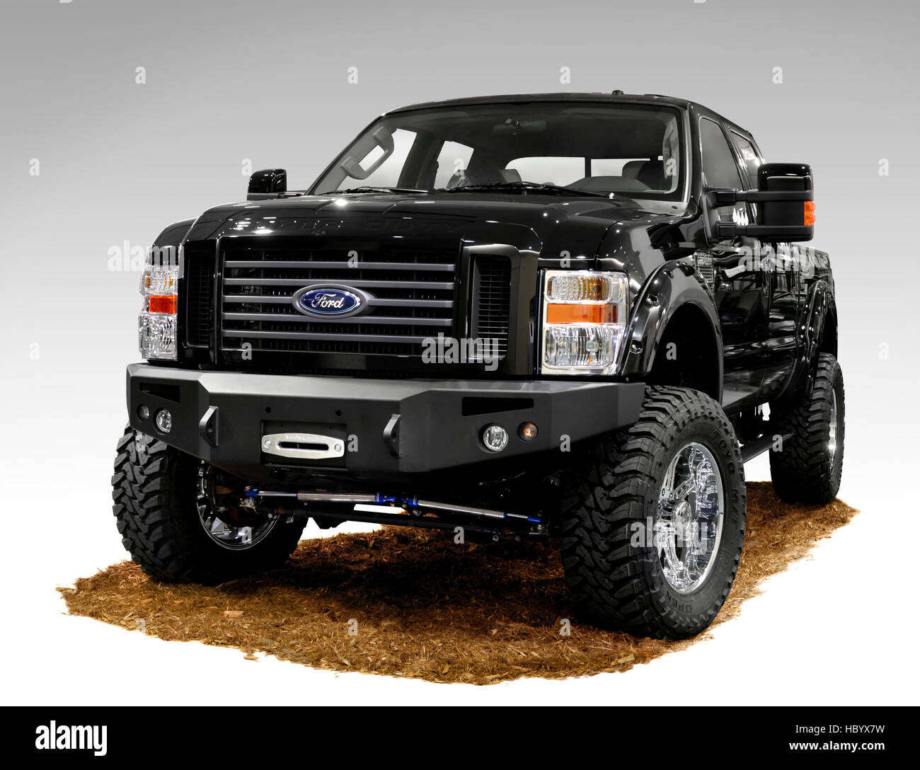 Customized Ford Pick Up Truck Stock Photos 1955 F100 White 4x4 Black Super Duty Pickup 2008 By National 4wd Centres Image