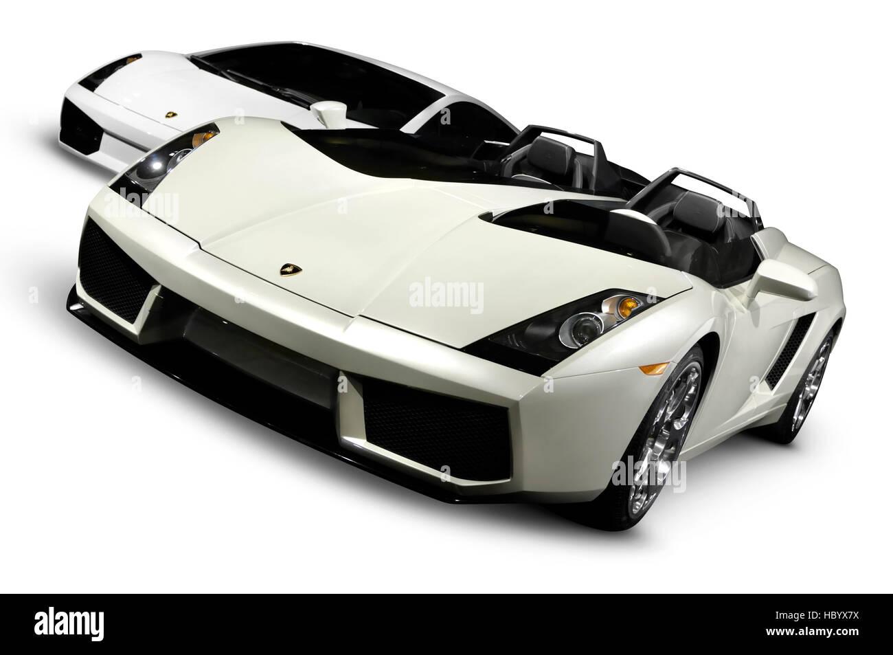 Lamborghini super cars 2005 Concept S and 2007 Gallardo Superleggera - Stock Image