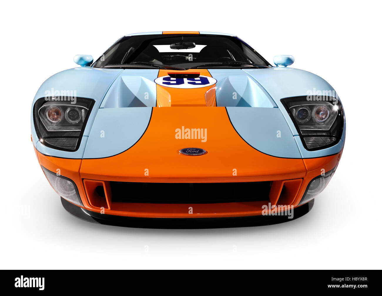Ford Gt Sports Car Blue With Orange Front View Stock Image