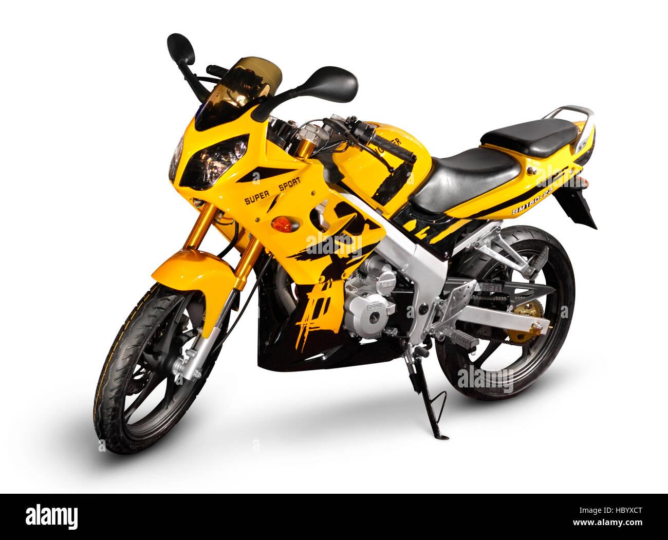 Yellow Chinese racing motorcycle SM150-23, light sport bike - Stock Image