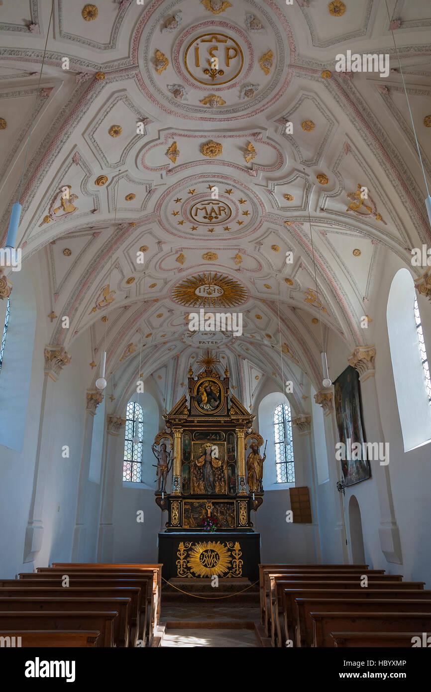 Interior with altar of Chapel of Mariä Schutz in Fischbachau, Upper Bavaria, Bavaria, Germany - Stock Image