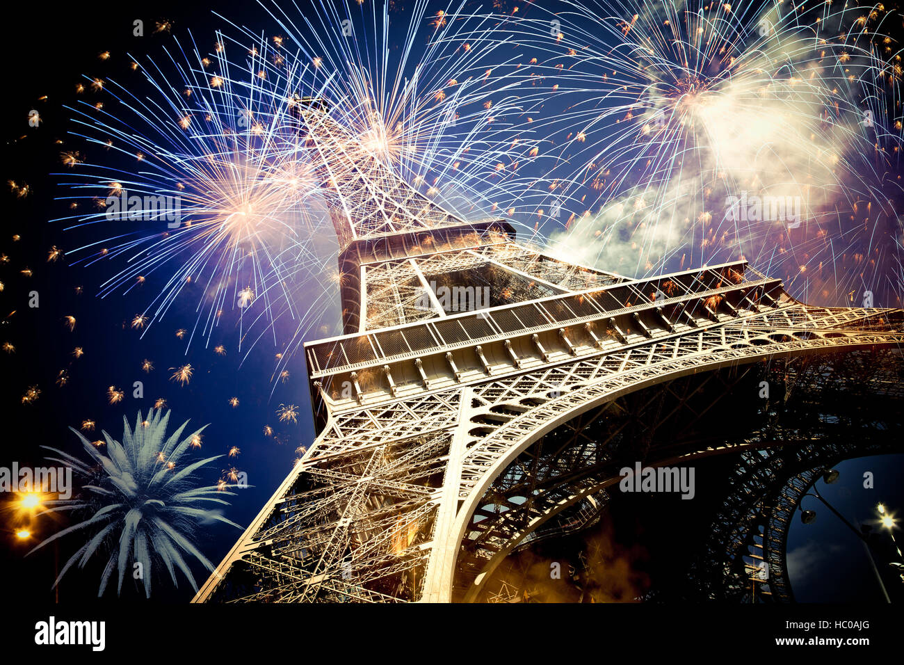 abstract background of eiffel tower with fireworks paris france new year