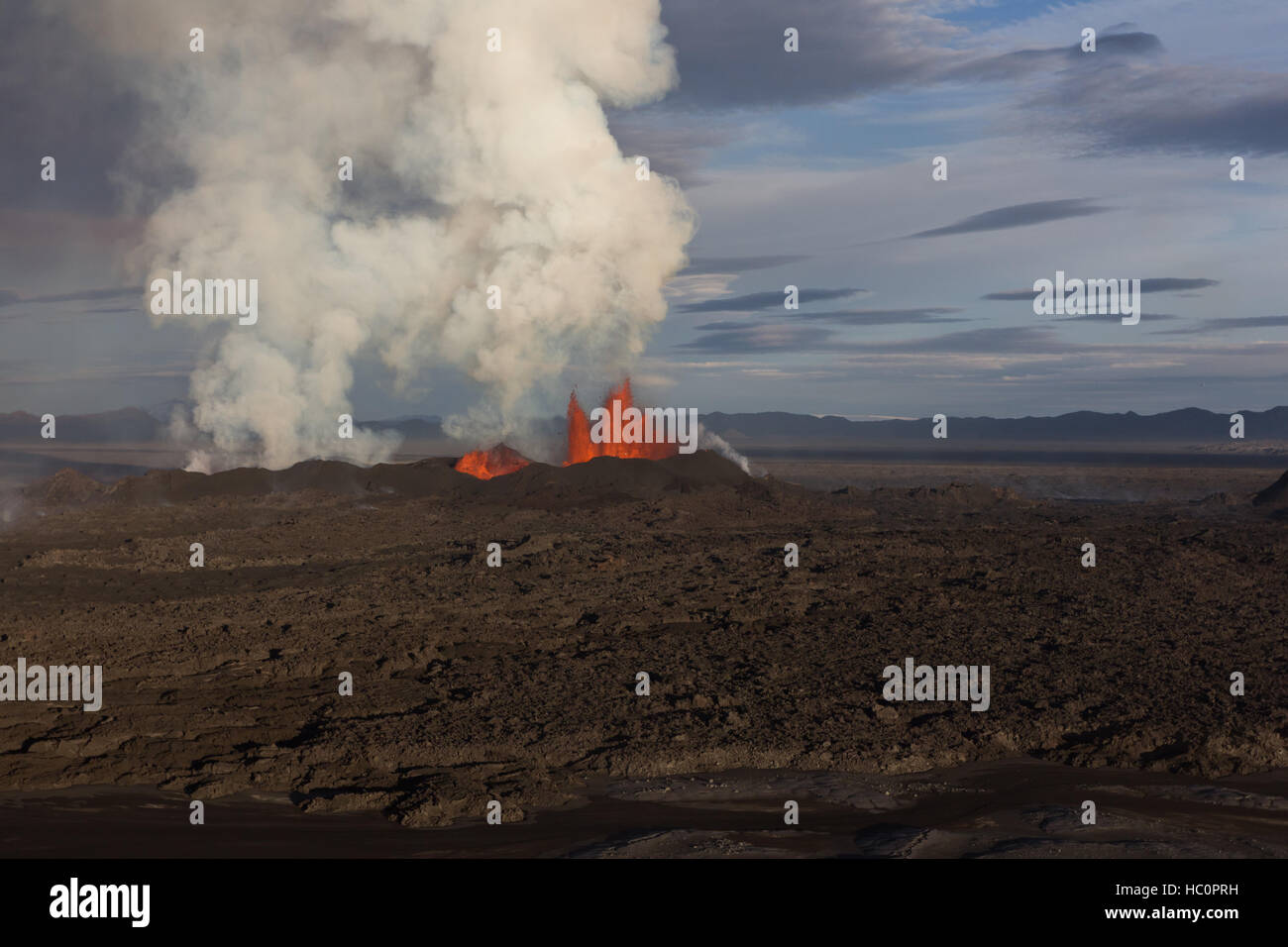 Holuhraun Iceland Volcano in Iceland september 2014 - Stock Image