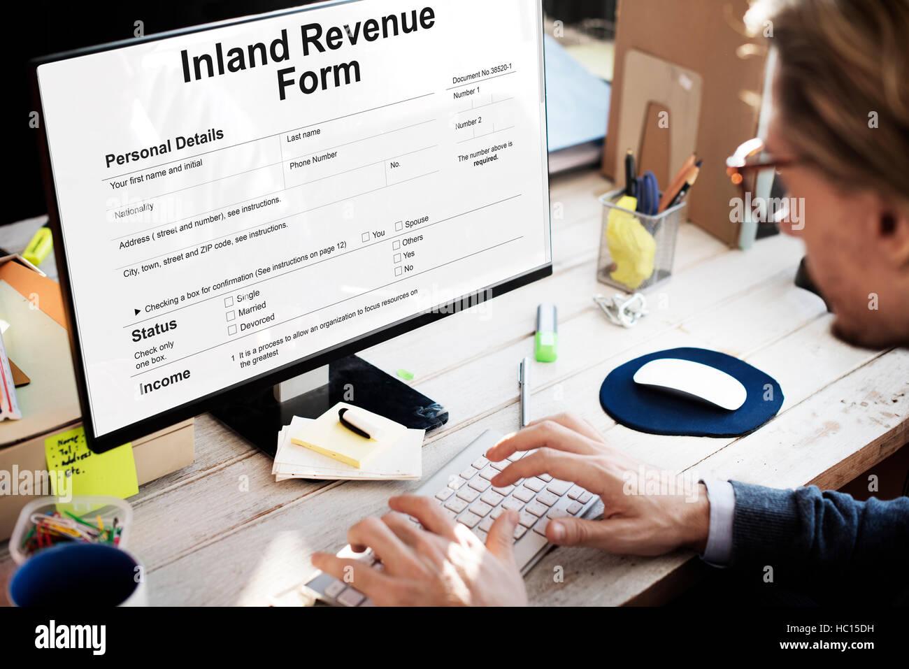 Inland Revenue Form Details Concept - Stock Image