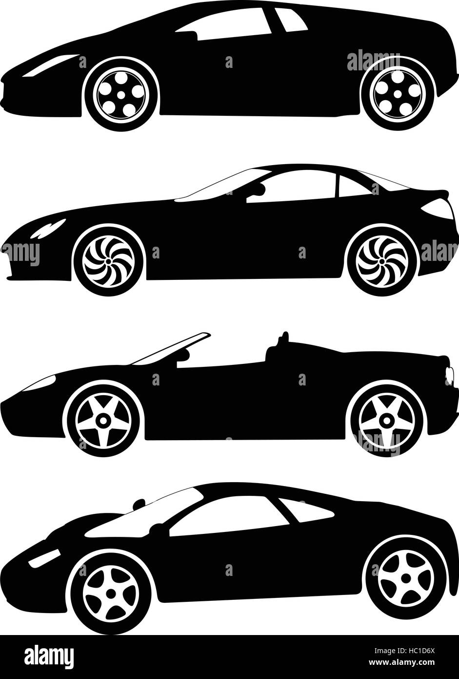 Silhouette A Sport Cars On White Background Vector Illustration