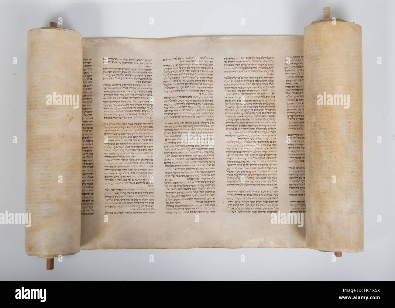 torah scroll on a white background - Stock Image