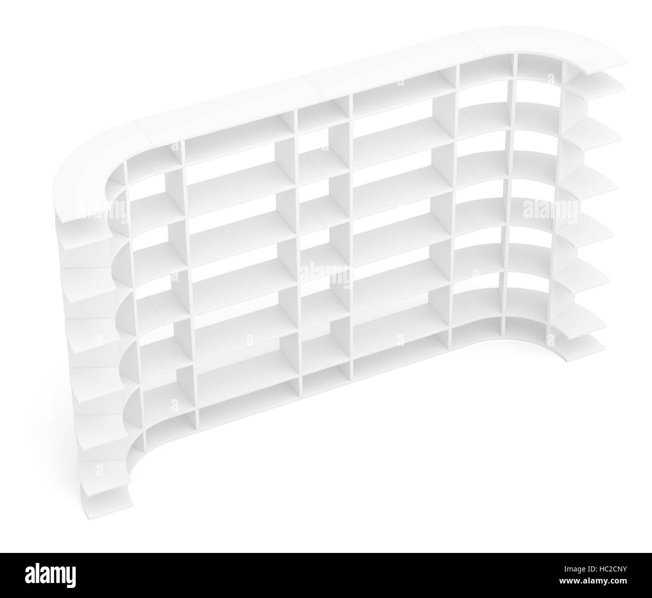 Big empty book shelves or rack. Top view - Stock Image