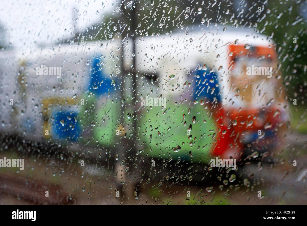 Outside of Transcantabrico Gran Lujo luxury train travellong across northern Spain, Europe. Old train from the windows. - Stock Image