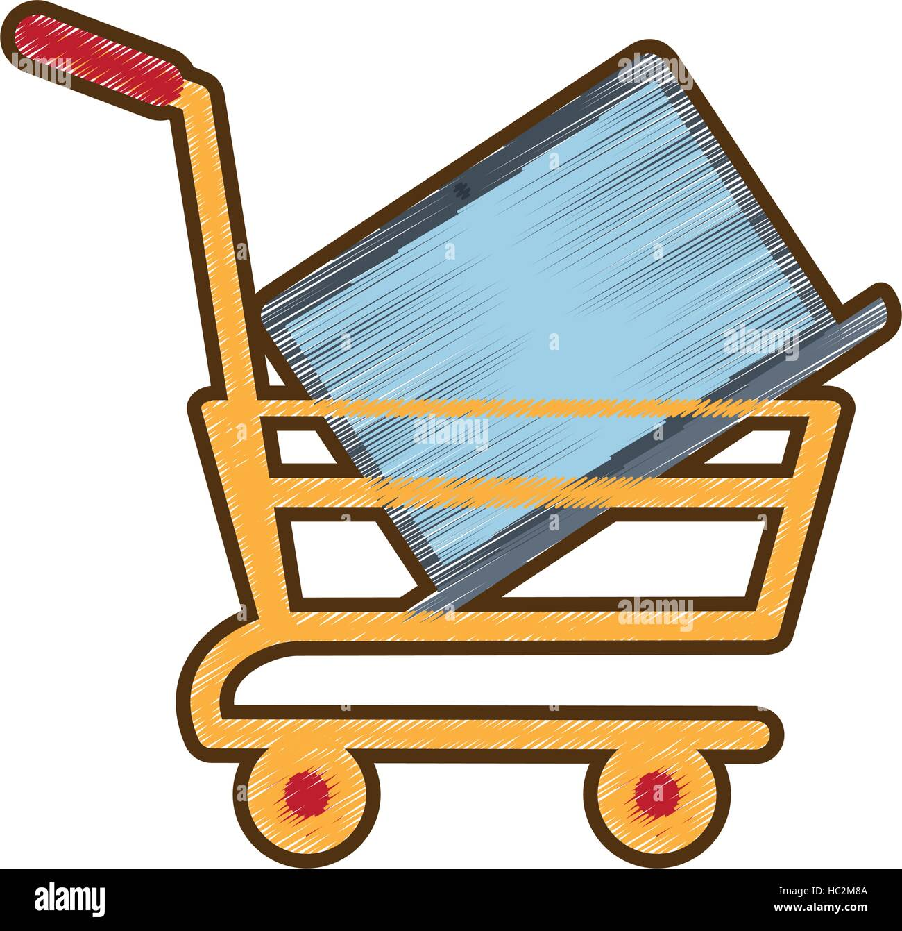Drawing Shopping Cart Online Laptop Technology Stock Vector