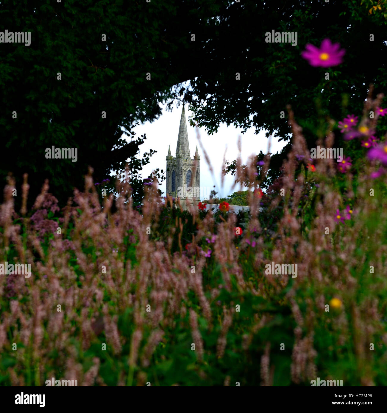 kiltegan church view viewpoint Patthana gardens wicklow ireland attractive display bench seat garden RM Floral Kiltegan - Stock Image
