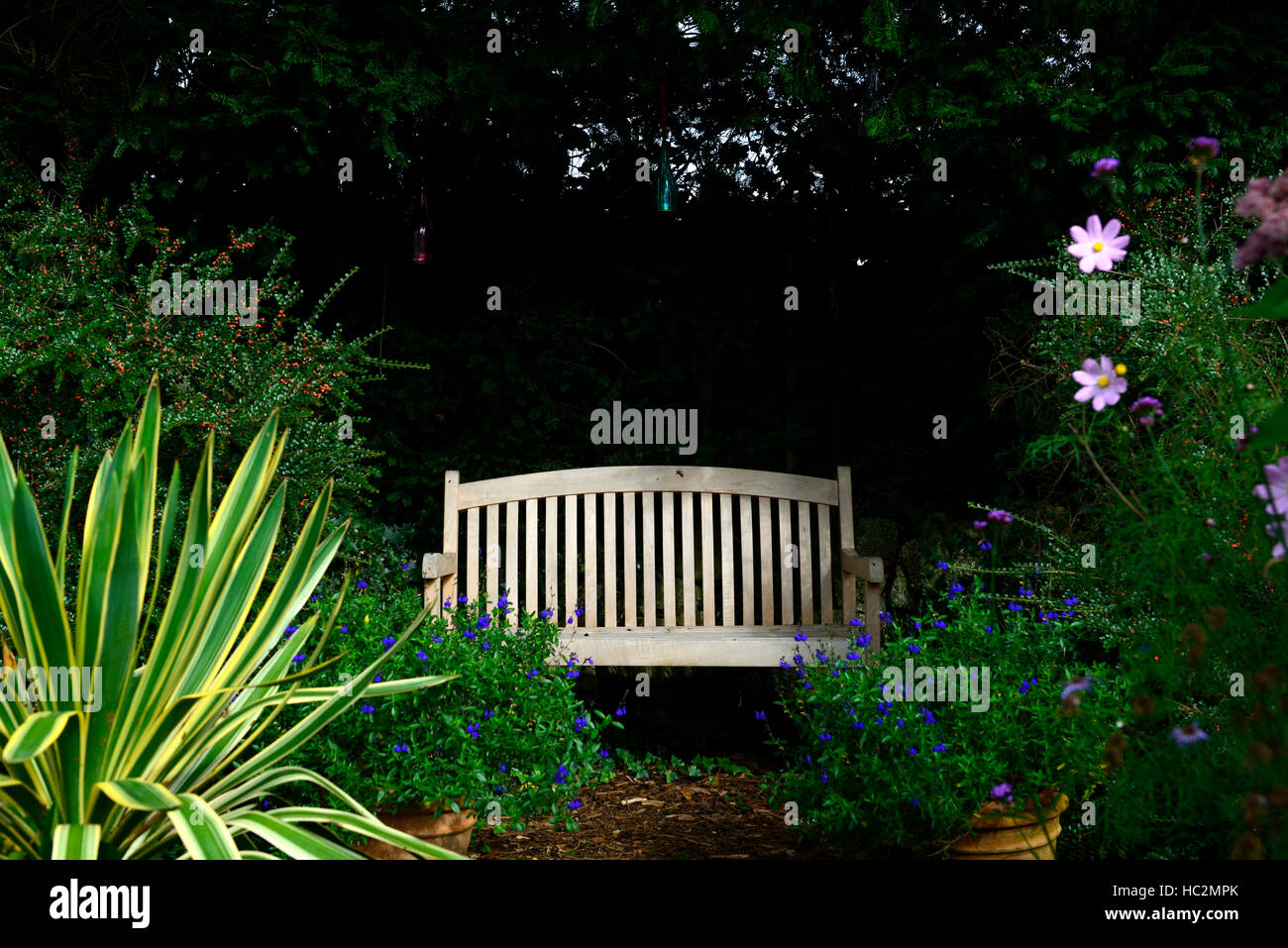 Heavy Duty Counter Stools, Wood Wooden Garden Bench Seat Shade Shady Shaded Area View Viewpoint Stock Photo Alamy