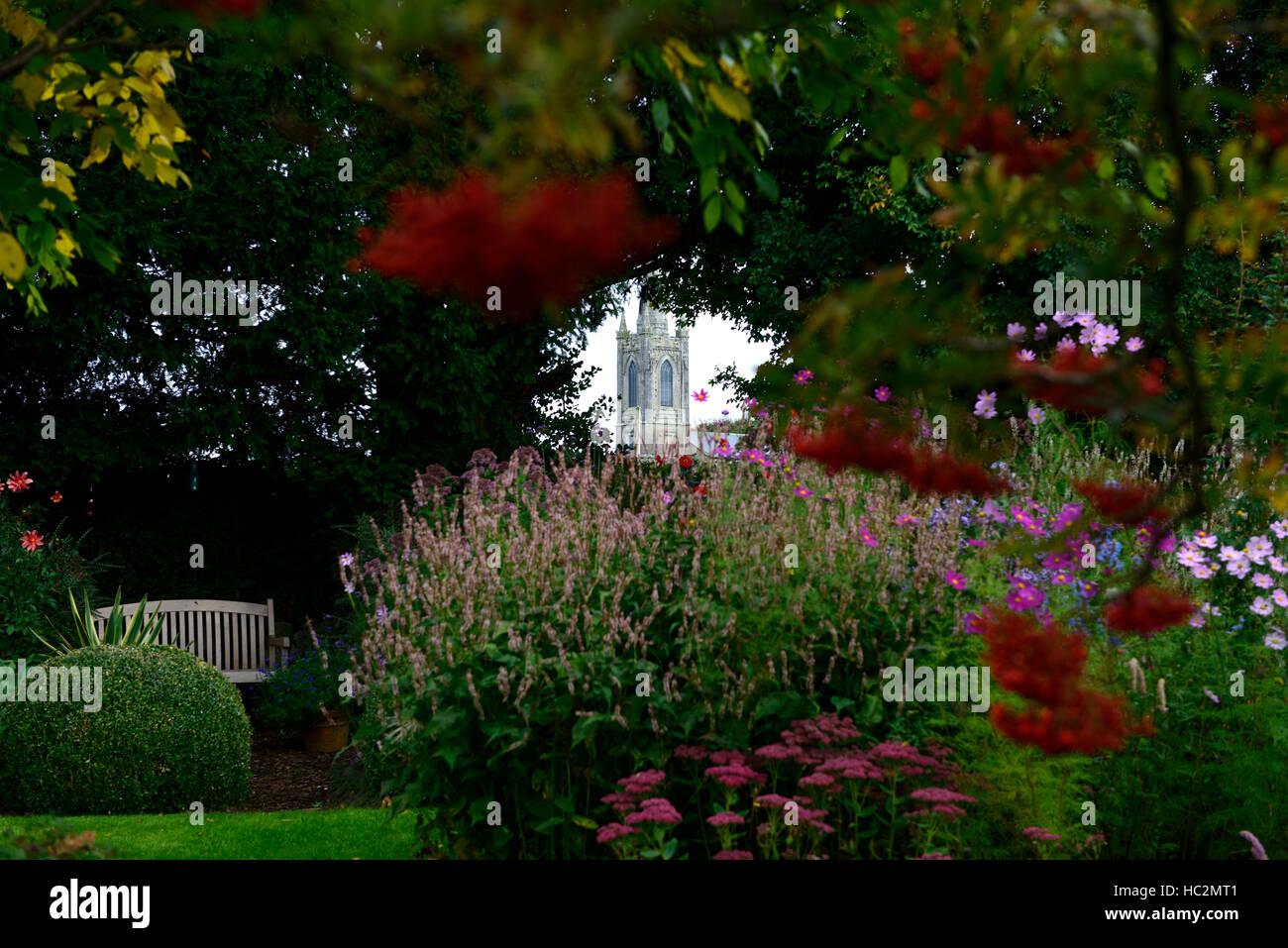 kiltegan church view viewpoint Patthana gardens wicklow ireland attractive display bench seat garden RM Floral - Stock Image