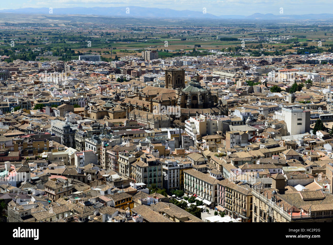 Cordoba City aerial view viewpoint overview taken from Alhambra palaces and gardens Granada Andalusia Spain RM World - Stock Image