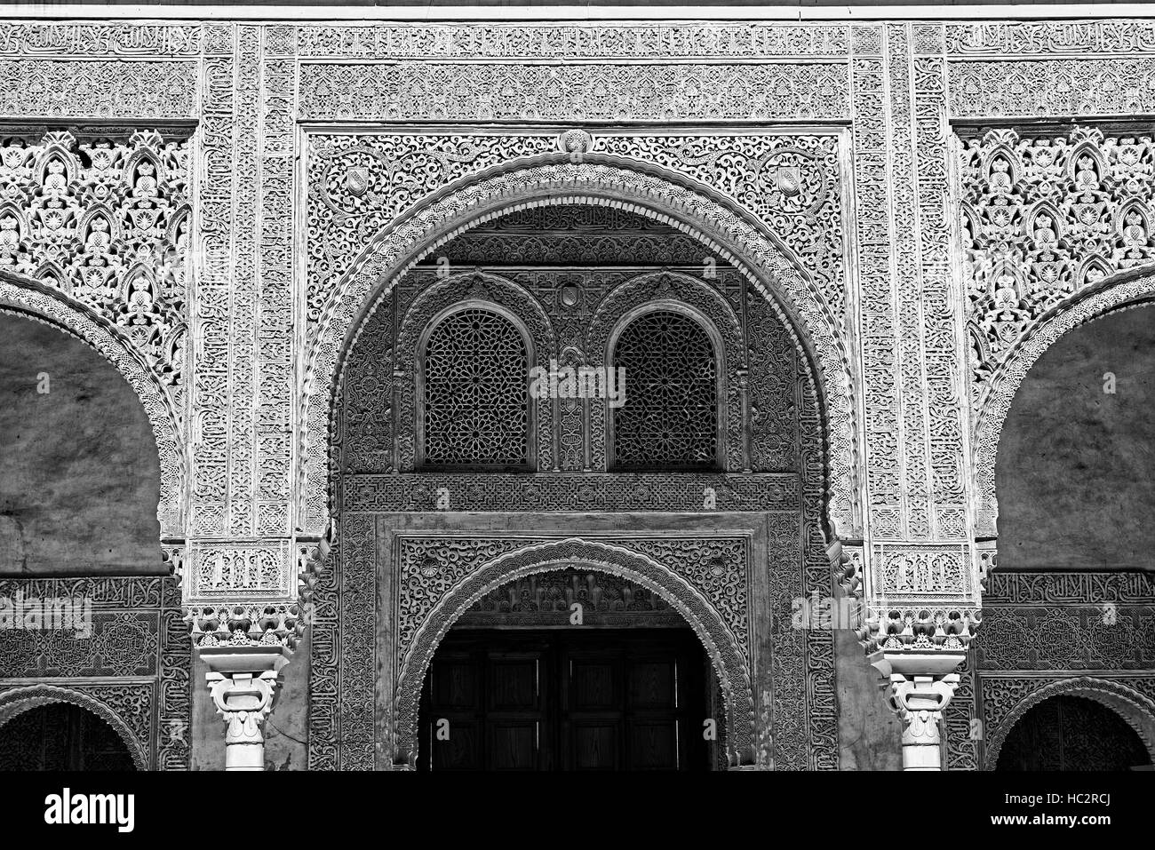 arched arch archway ornate wall detail nasrid palace Alhambra Gardens Generalife black and white RM Floral - Stock Image