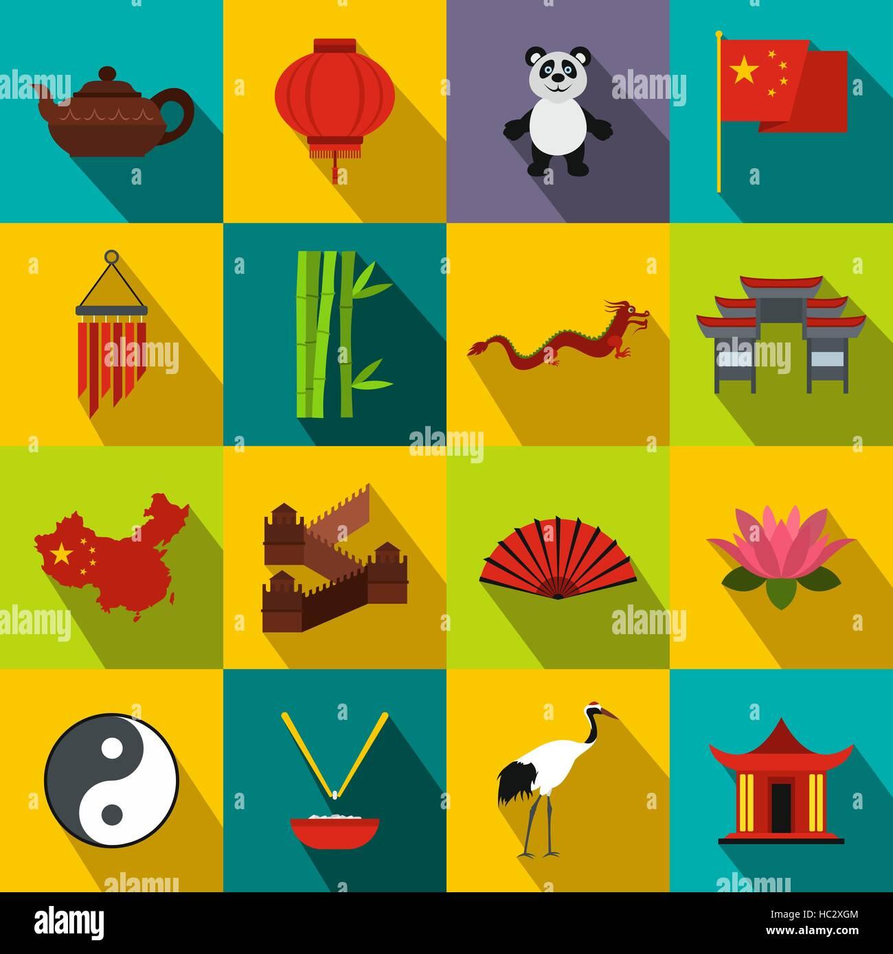 China flat icons - Stock Image