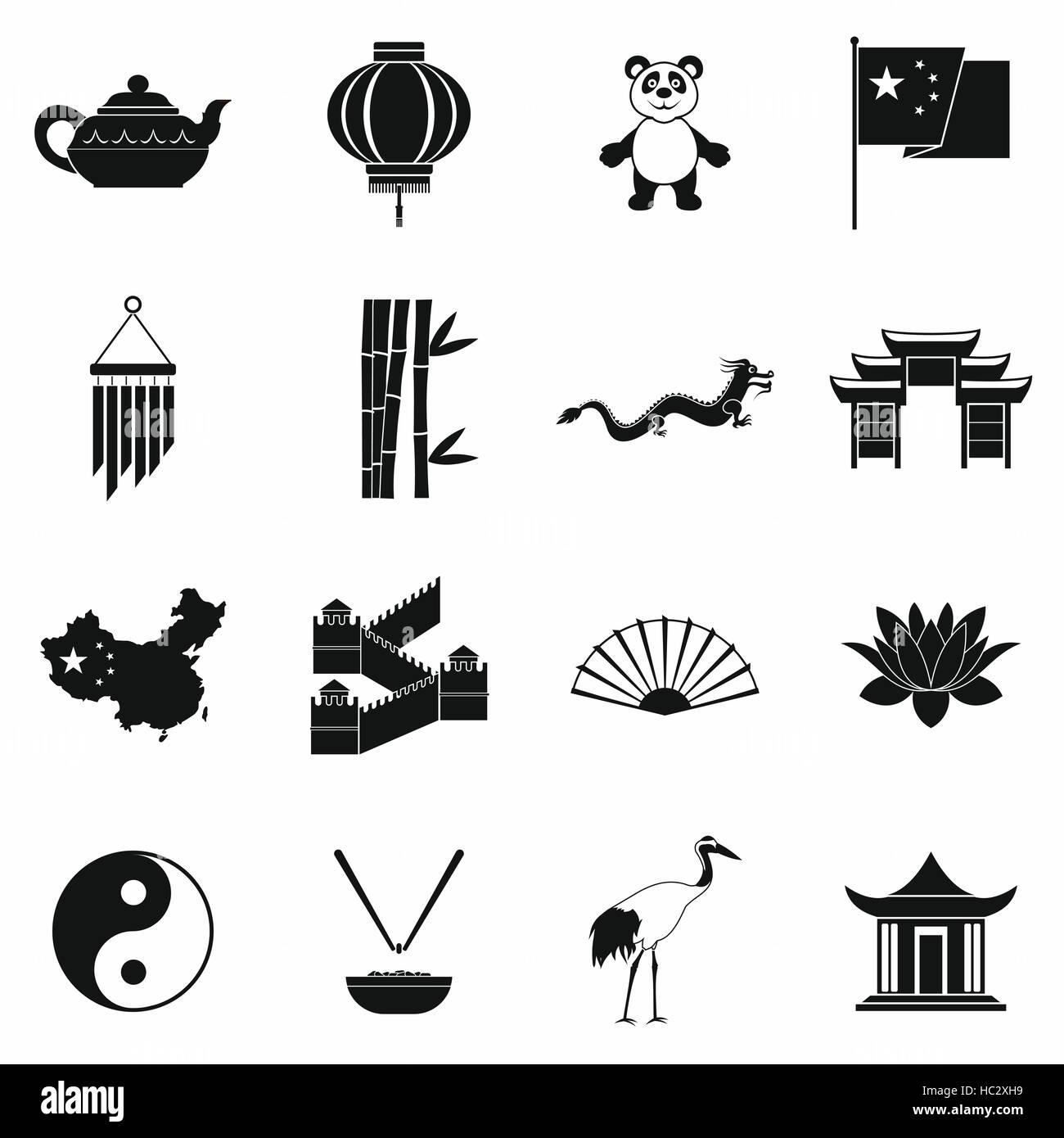China black simple icons - Stock Image