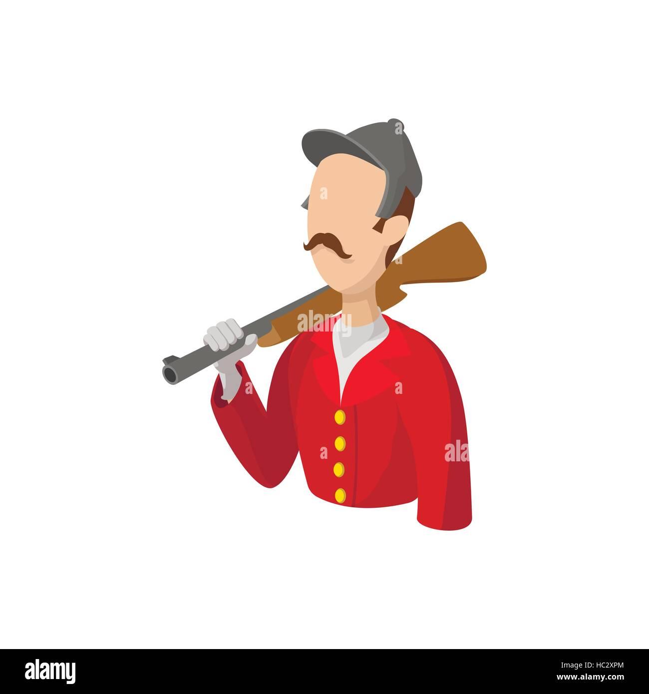 Hunterr retro cartoon character - Stock Image