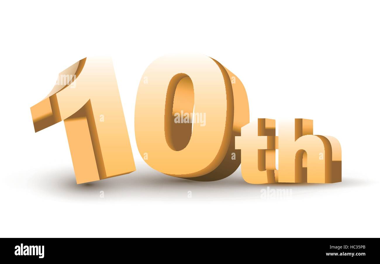 3d anniversary, 10th, isolated on white background - Stock Vector