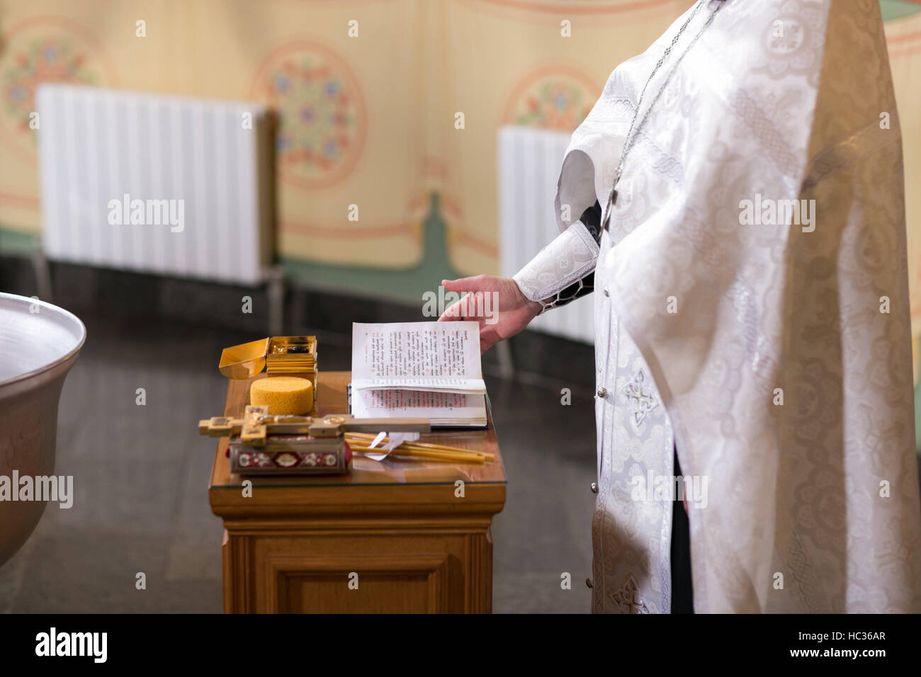 altar close-up. Interior Of Orthodox Church In Easter. baby christening. Ceremony a in Christian . bathing the into - Stock Image