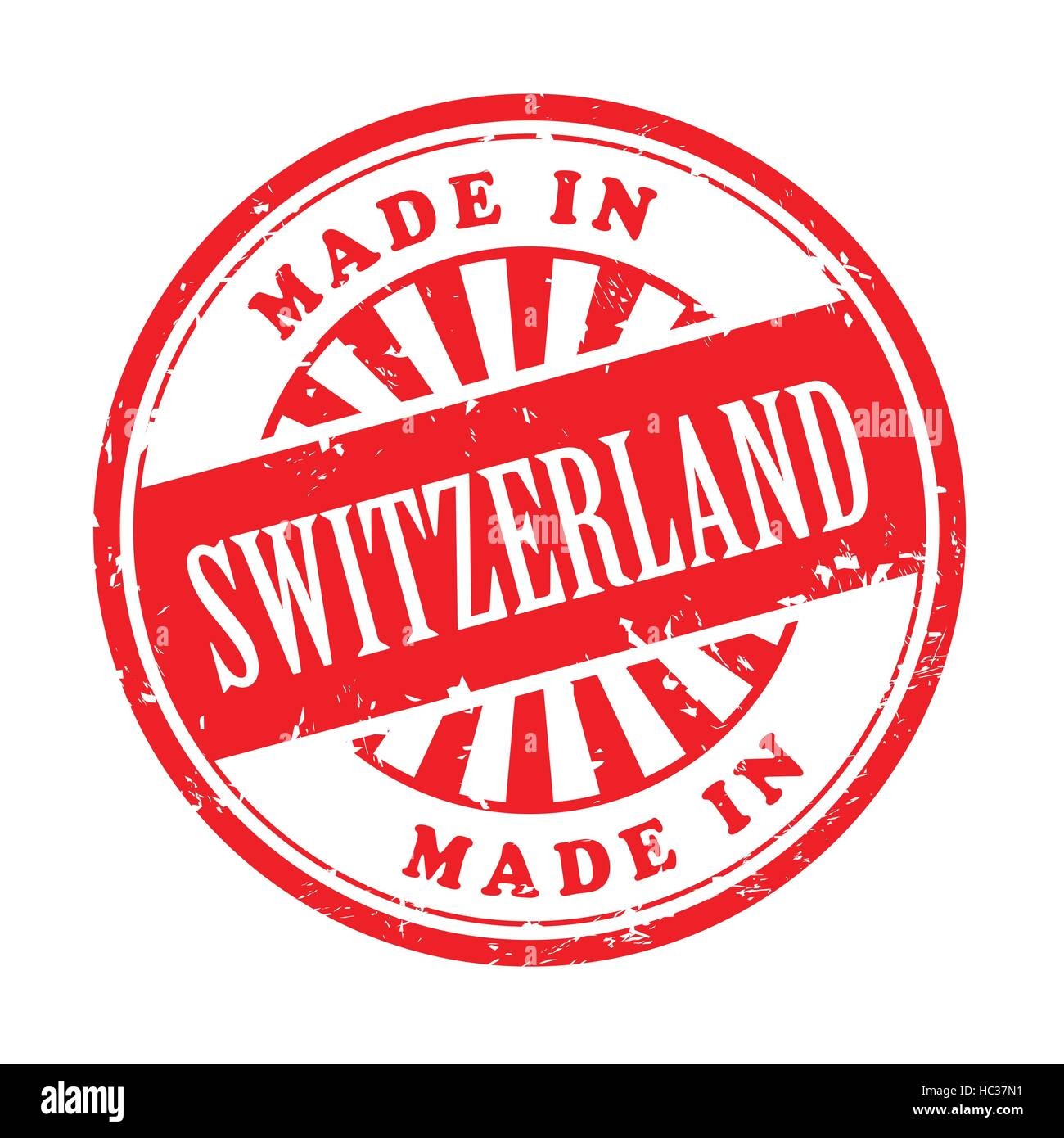 illustration of grunge rubber stamp with the text made in Switzerland written inside - Stock Image