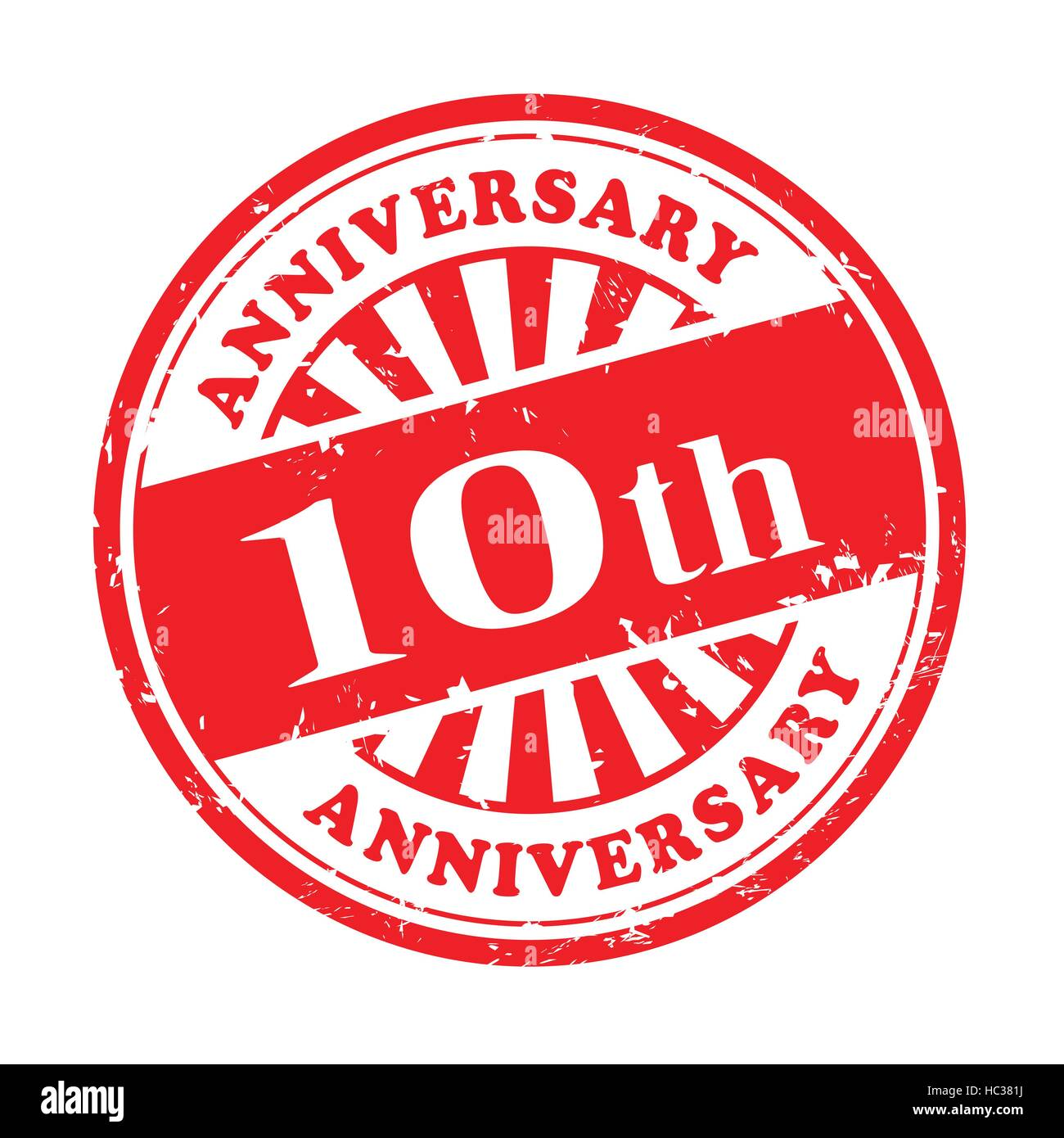 illustration of grunge rubber stamp with the text 10th anniversary written inside - Stock Vector