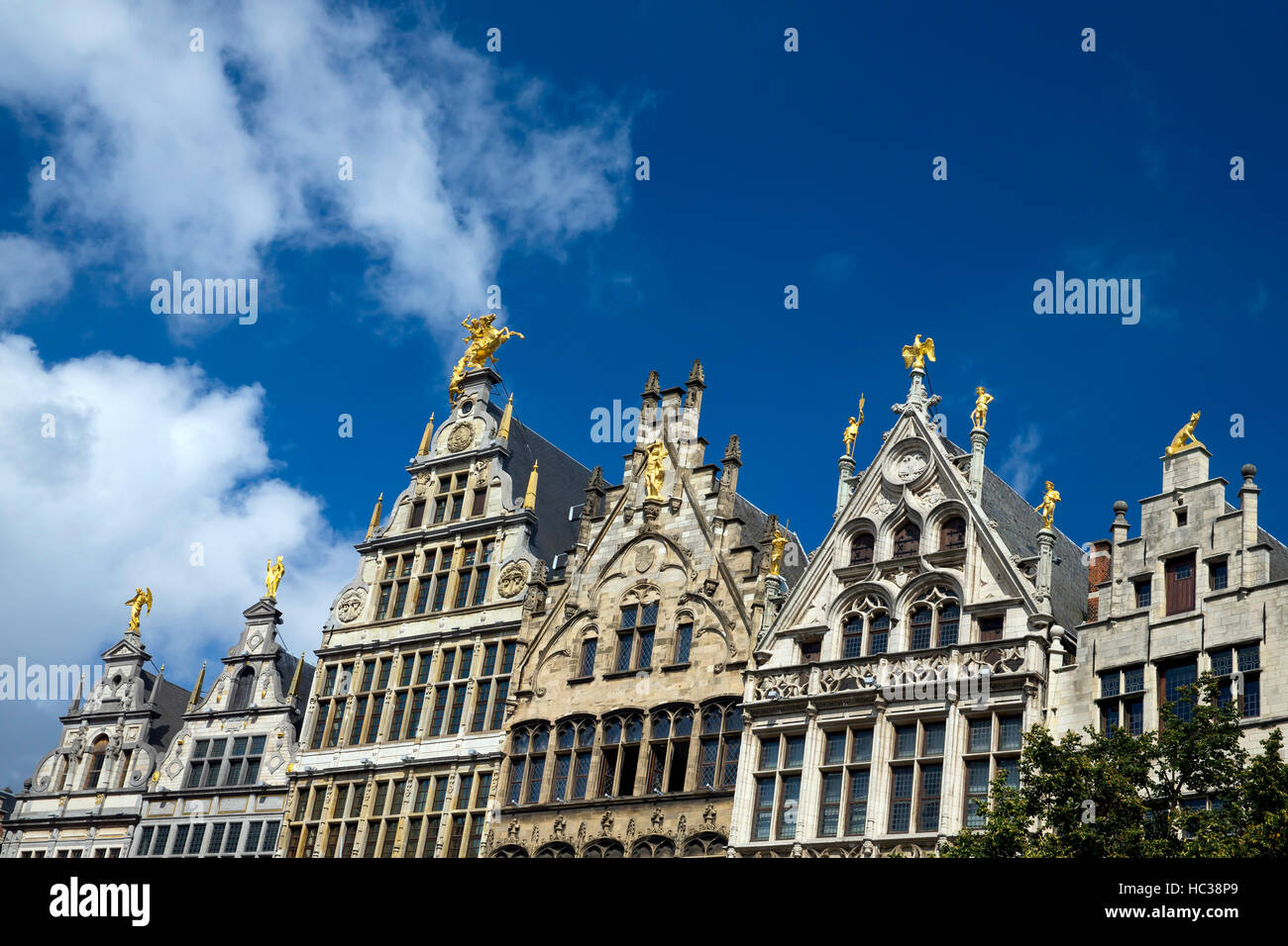 Old Guild Houses on the Grote Markt, city centre, Antwerp, Belgium, Europe Stock Photo