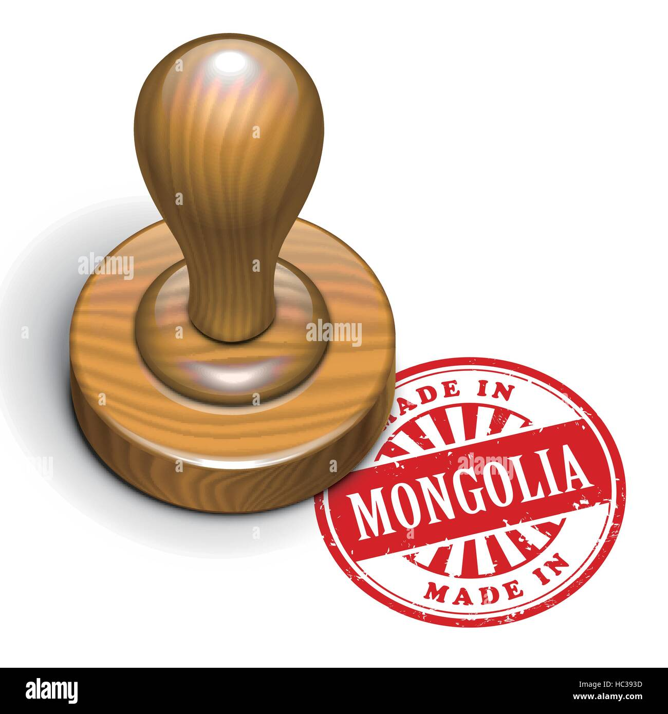 illustration of grunge rubber stamp with the text made in Mongolia written inside - Stock Vector