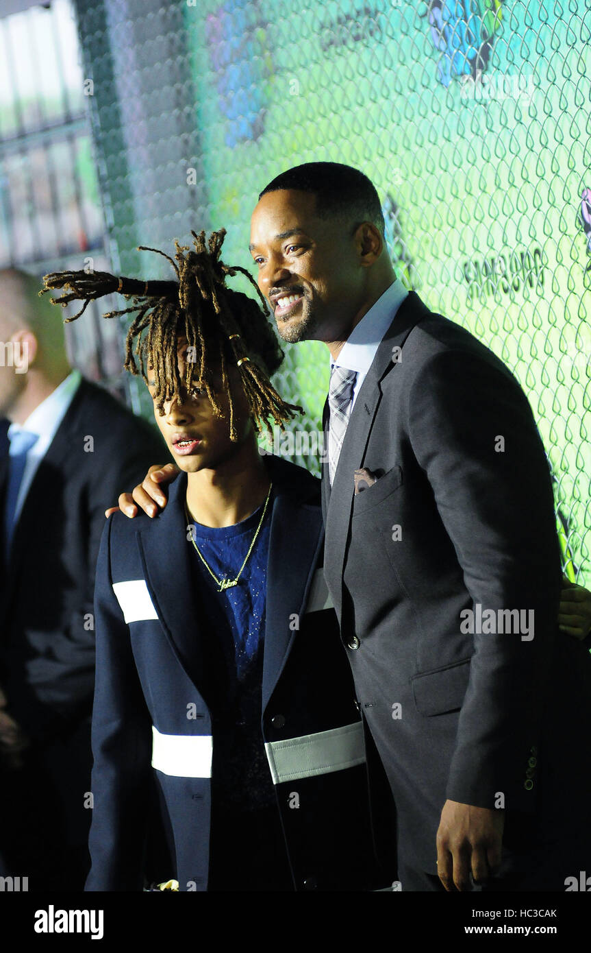 Suicide Squad World Premiere at the  Beacon Theater  Featuring: Jaden Smith, Will Smith Where: NY, New York, United - Stock Image