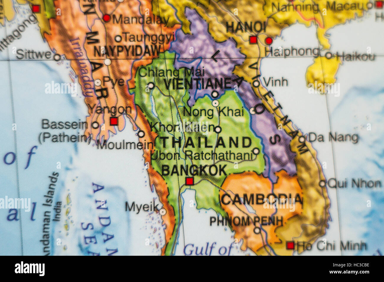 Photo of a map of Thailand and the capital Bangkok Stock Photo ...