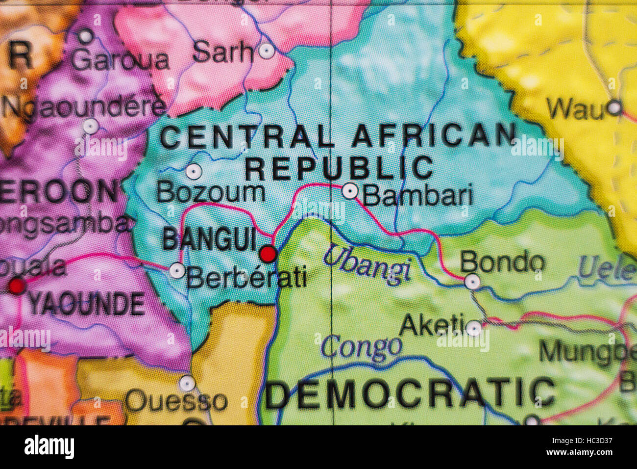 Photo of a map of Central African Republic and the capital Bangui . - Stock Image