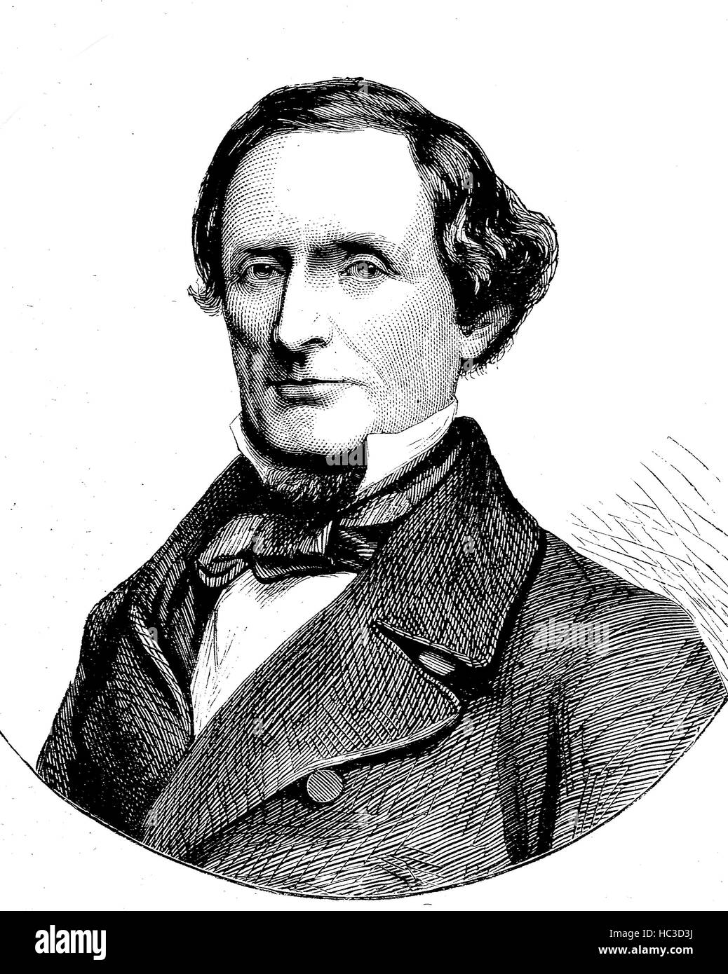 Jefferson Finis Davis, 1808 - 1889, an American politician, U.S. Representative and Senator from Mississippi, the - Stock Image