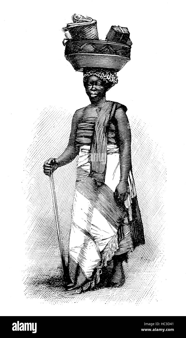 Porto-Novo, Hogbonu,  Ajashe, capital of Benin, and was the capital of former French Dahomey, here a sales woman, - Stock Image
