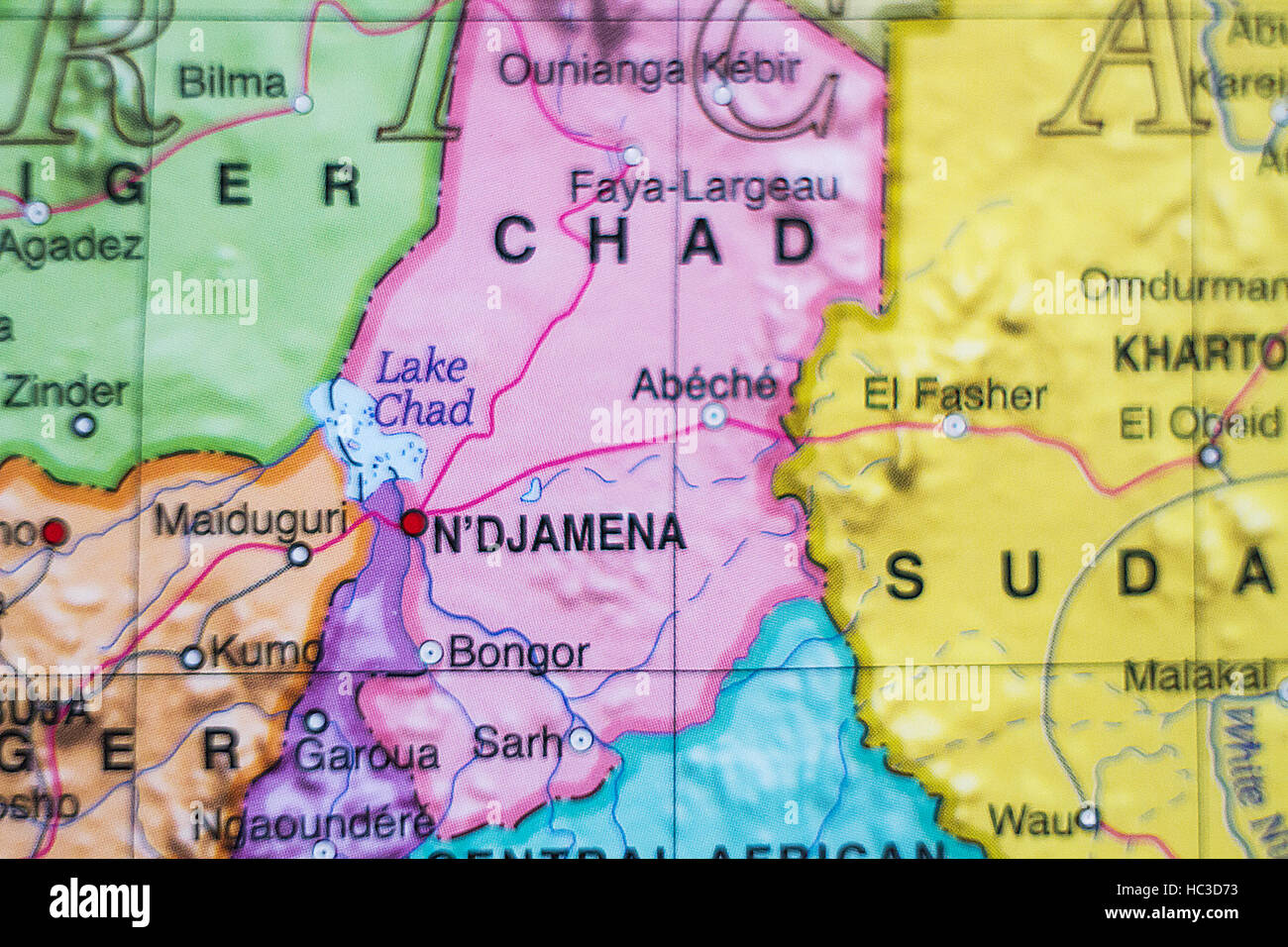 Photo of a map of Chad and the capital Ndjamena . - Stock Image