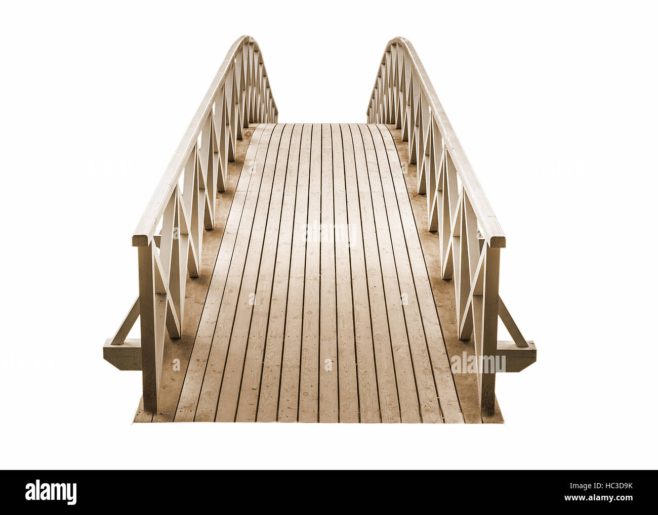 wooden Park foot bridge isolated on a white background - Stock Image