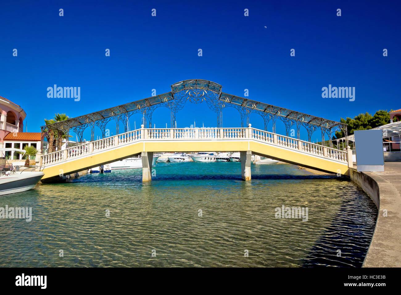 Adriatic town of Rogoznica iron bridge, Dalmatia, Croatia - Stock Image