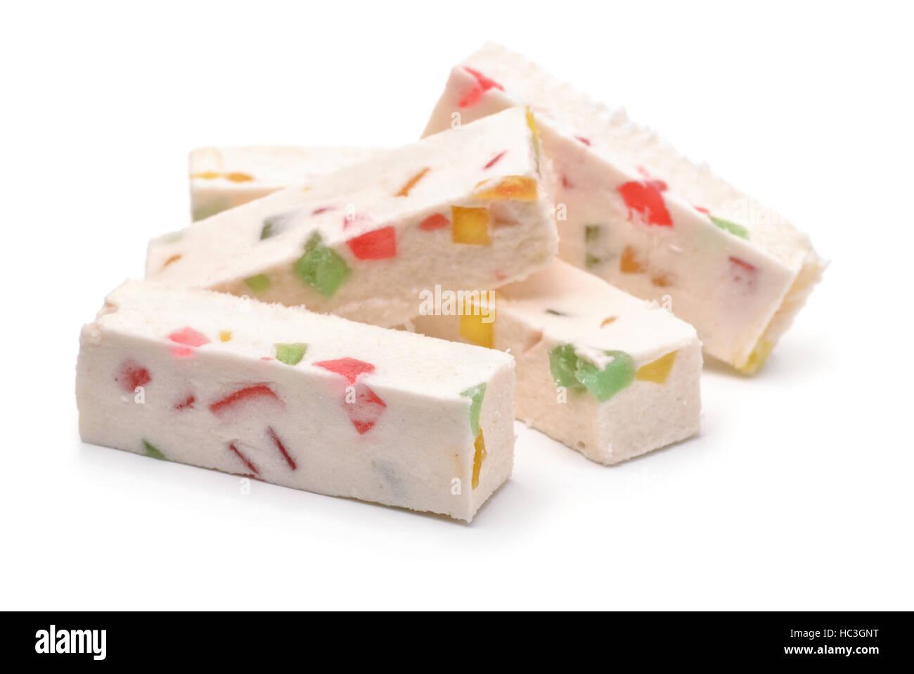 Fruit nougat sticks isolated on white Stock Photo