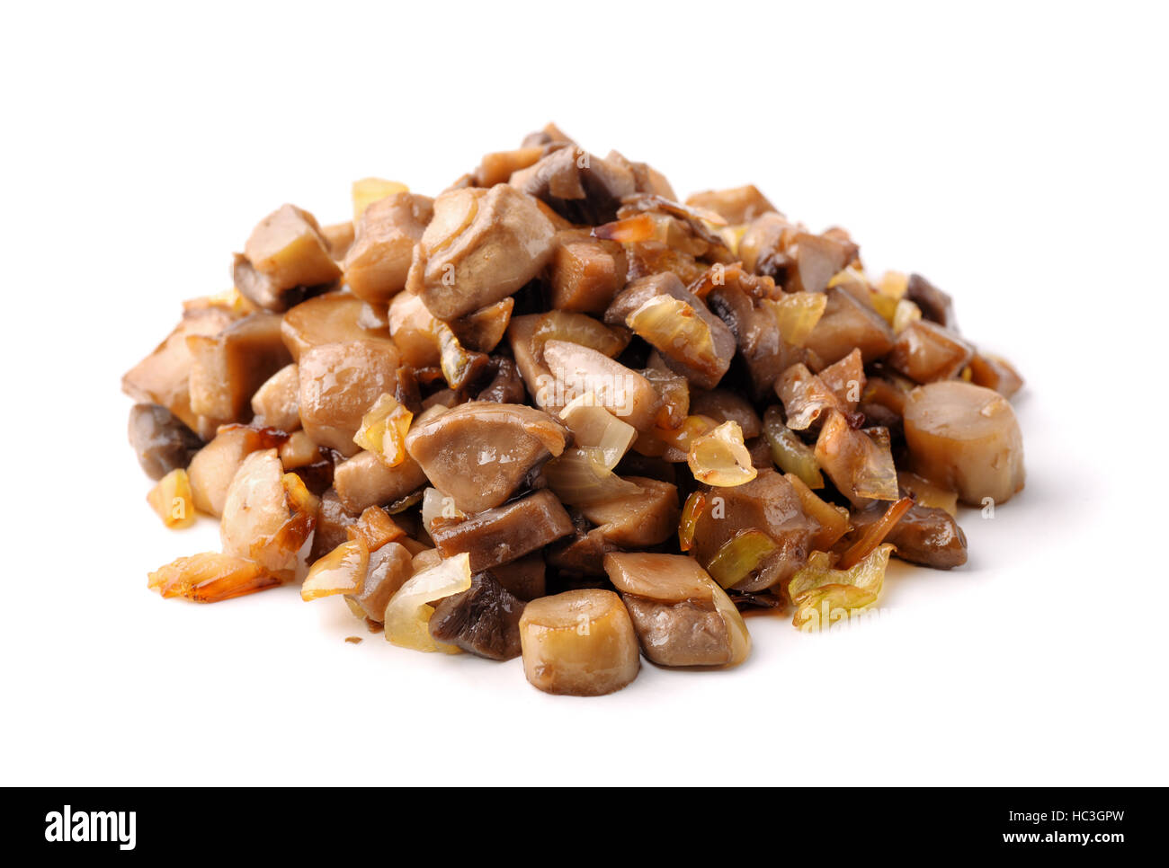 Pile of roasted mushrooms isolated on white Stock Photo