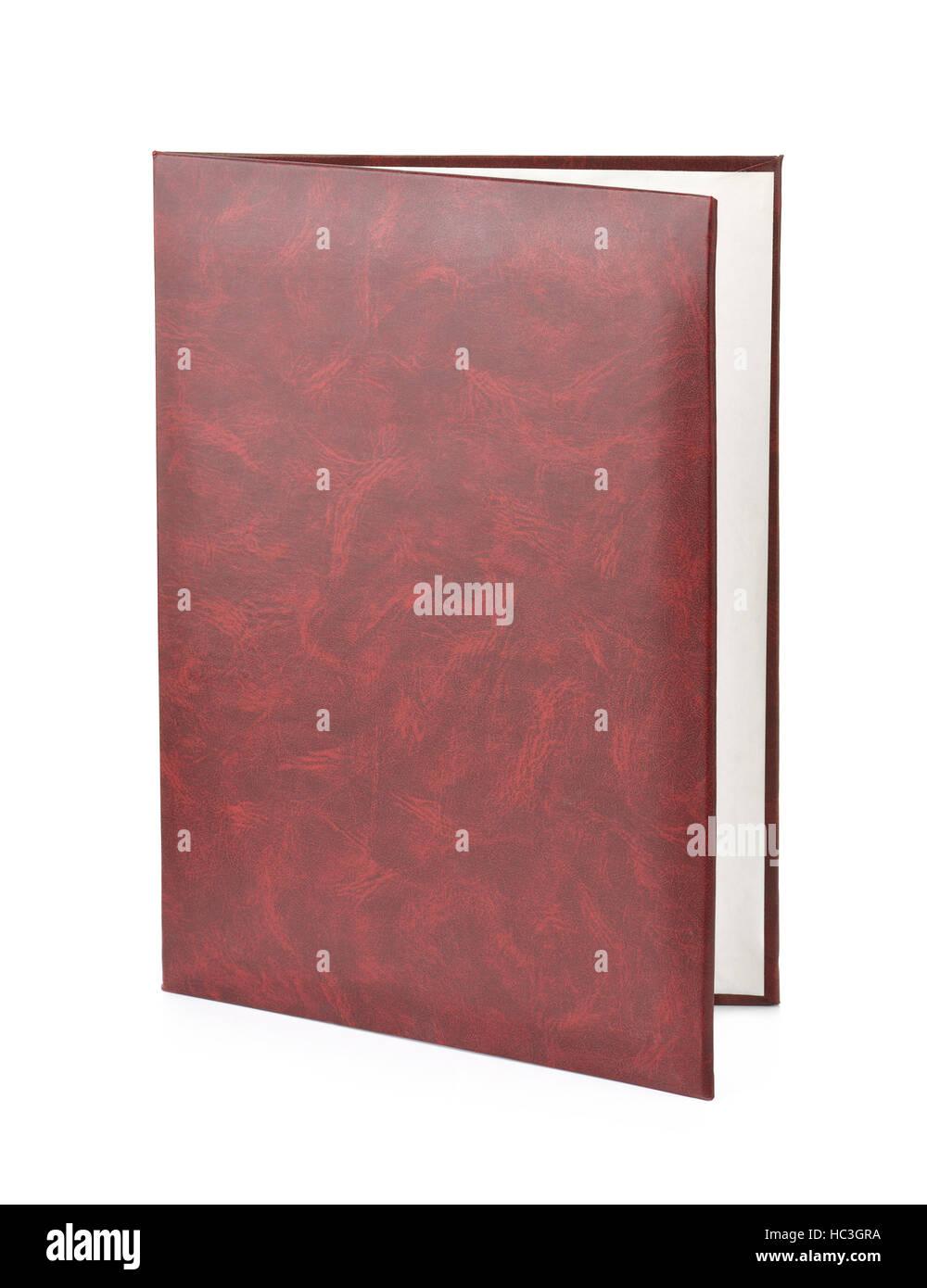 Leather document folder isolated on white - Stock Image