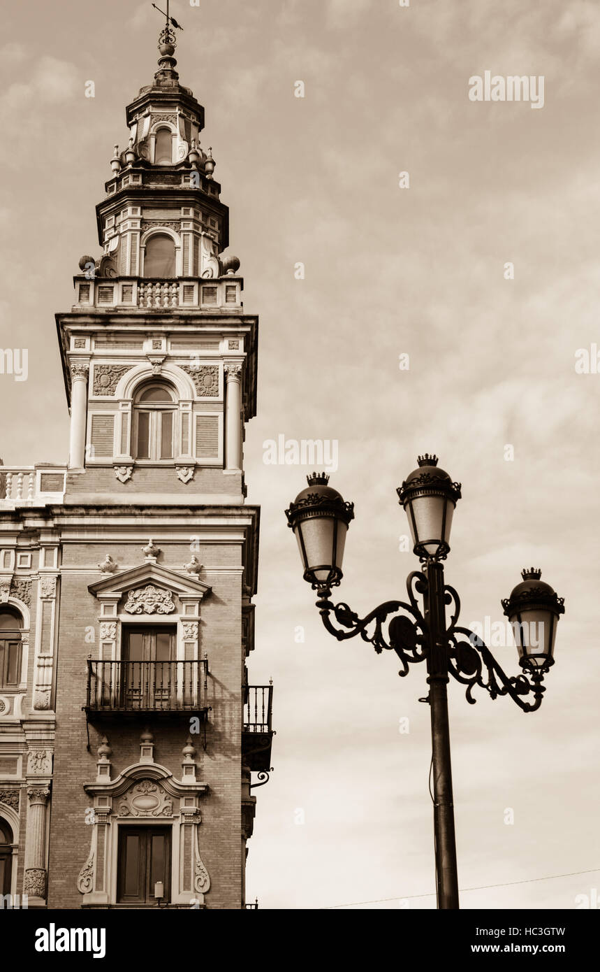 Architectural details from the city of Seville, a real jewel of art and history, Spanish and European. - Stock Image