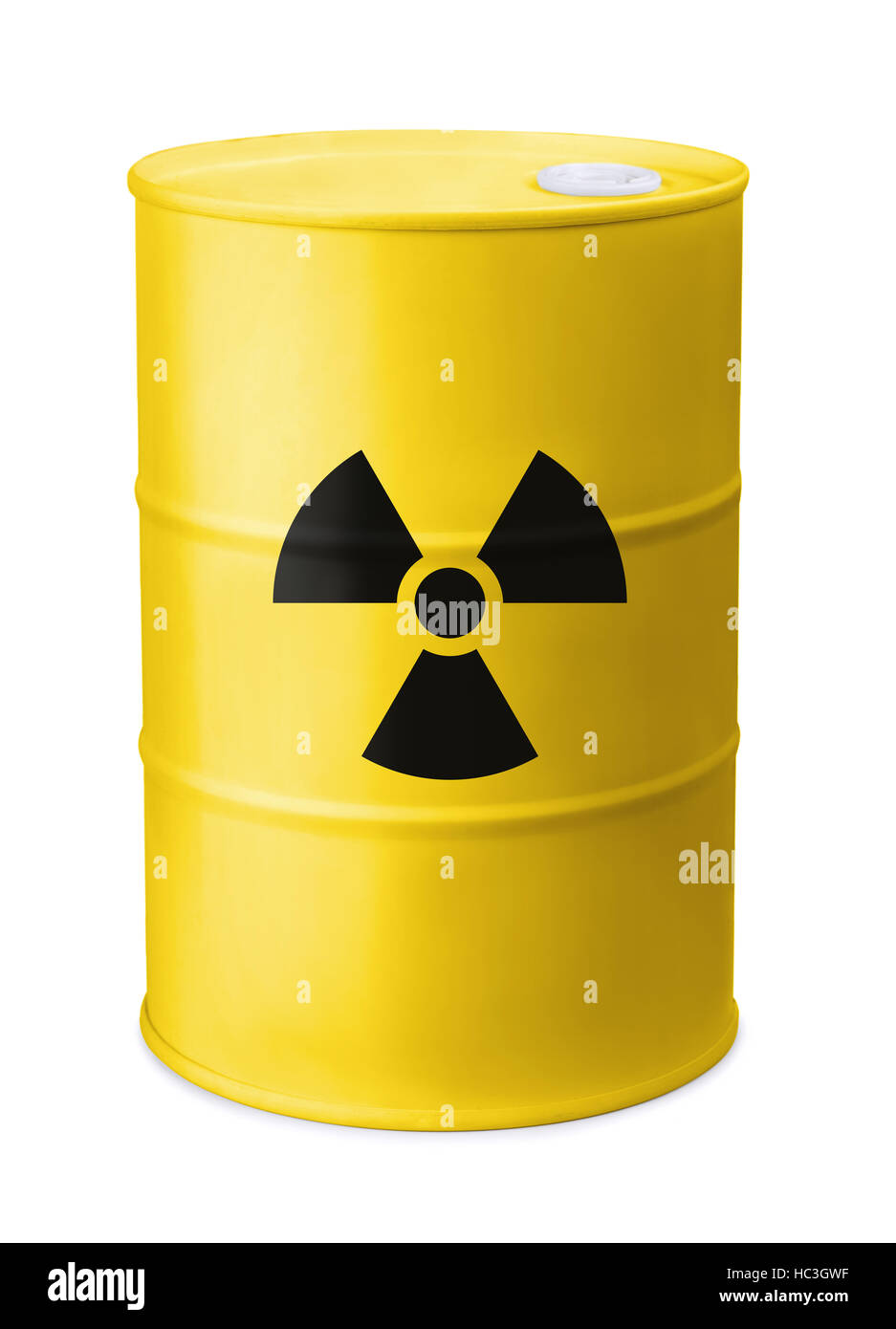 Front view of yellow barrel with radiation sign isolated on white - Stock Image