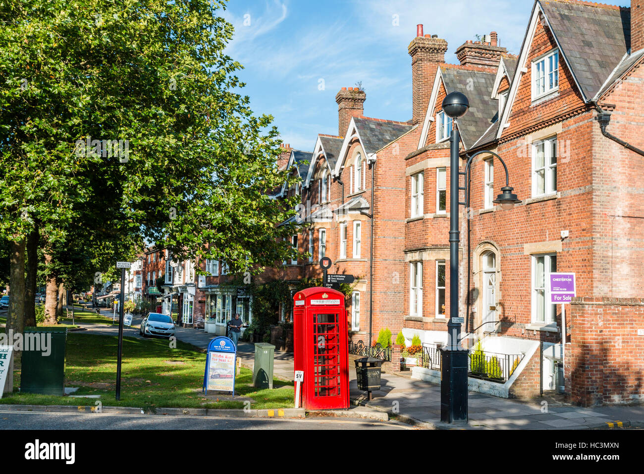 England, market town of Tenterden. Victorian large houses along the 1960's parade, The Greens. Traditional British - Stock Image
