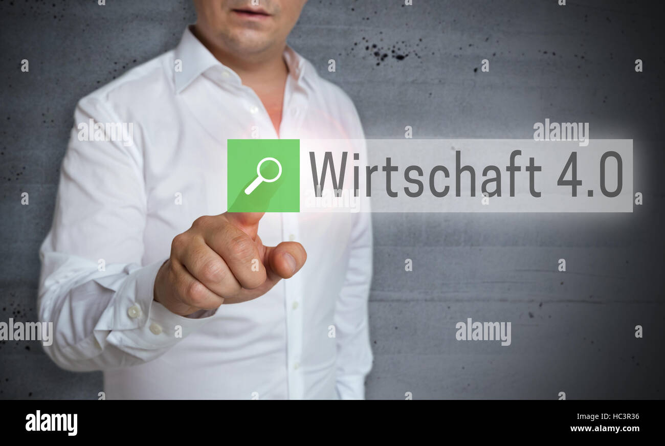 Wirtschaft 4.0 (in german Business 4.0) browser is operated by man. - Stock Image