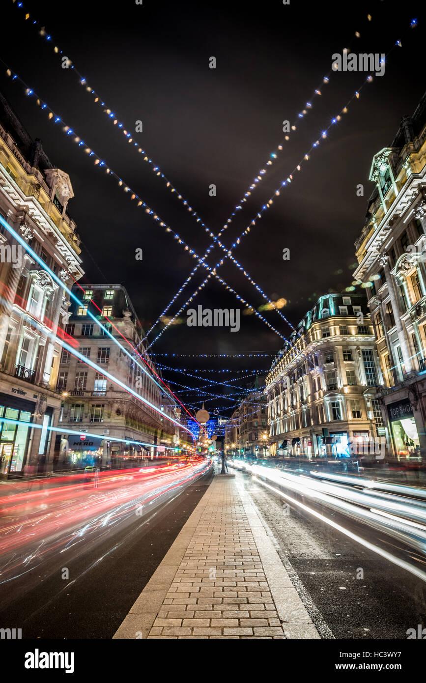 Christmas Lights around Oxford Street / Regent Street, London, UK - Stock Image