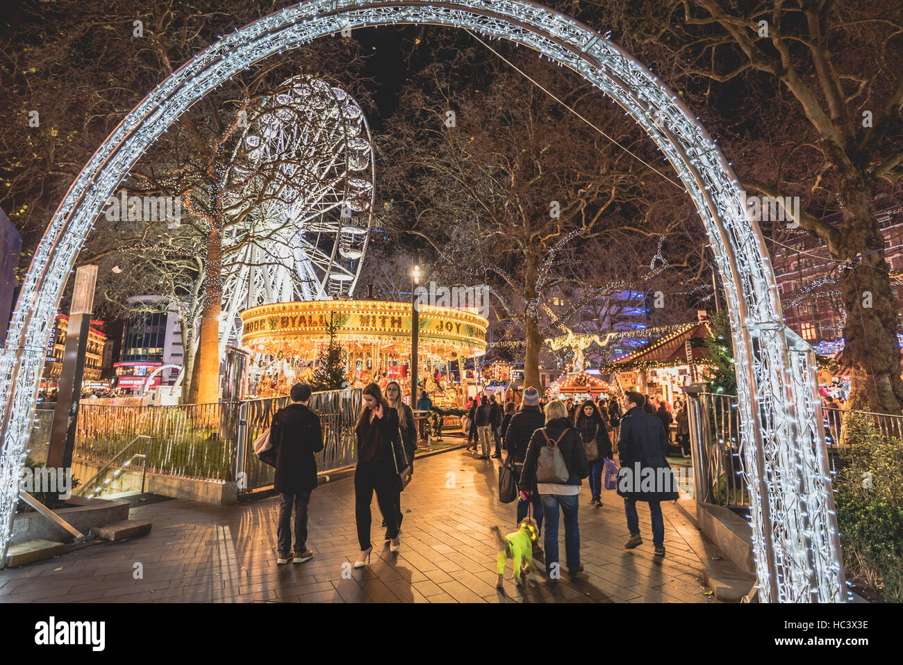 Christmas Lights at Leicester Square, London Winter Wonderland - Stock Image