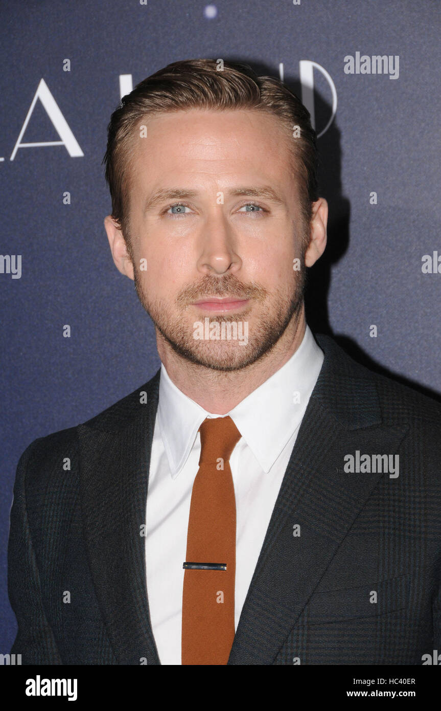 Los Angeles, California, USA. 6th Dec, 2016. Actor RYAN GOSLING at the LALA Land Premiere held at the Village Theater, - Stock Image